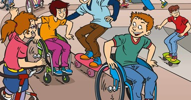 Afbeelding Sam en Sarah: striphelden in een rolstoel