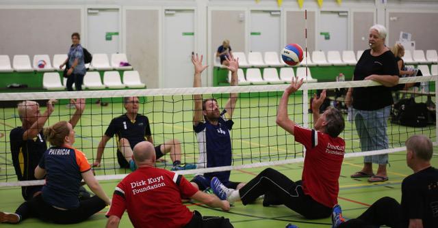 Foto zitvolleybalwedstrijd