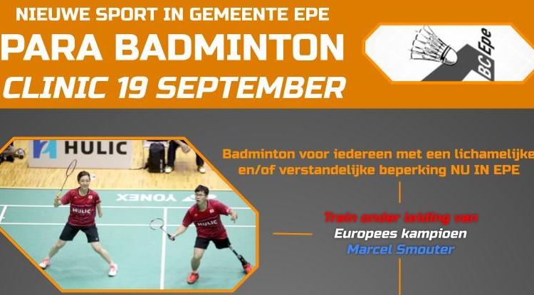 NIEUW: Para Badminton in de gemeente Epe afbeelding nieuwsbericht