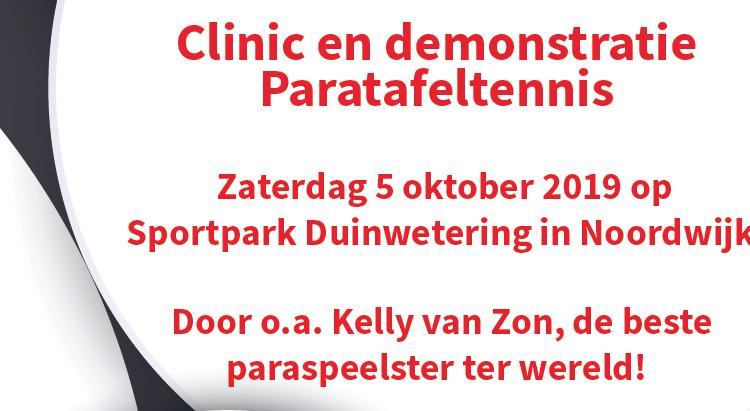 Clinic en demonstratie Paratafeltennis - Noordwijk afbeelding nieuwsbericht