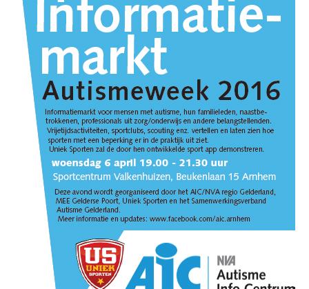 Sportieve Informatiemarkt in de Autismeweek 2016 afbeelding nieuwsbericht