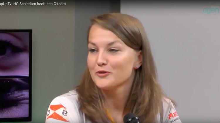 Leonieke Breunis van het G-team HC Schiedam bij PopUpTv afbeelding nieuwsbericht