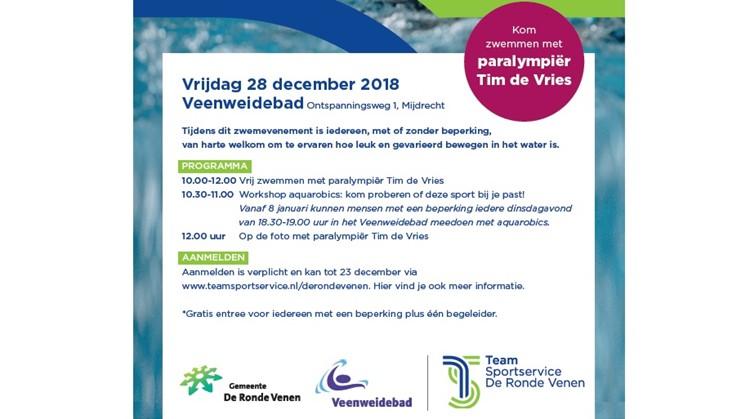Doe mee aan de workshop aquarobics of kom baantjes trekken met paralympiër Tim de Vries!  afbeelding nieuwsbericht