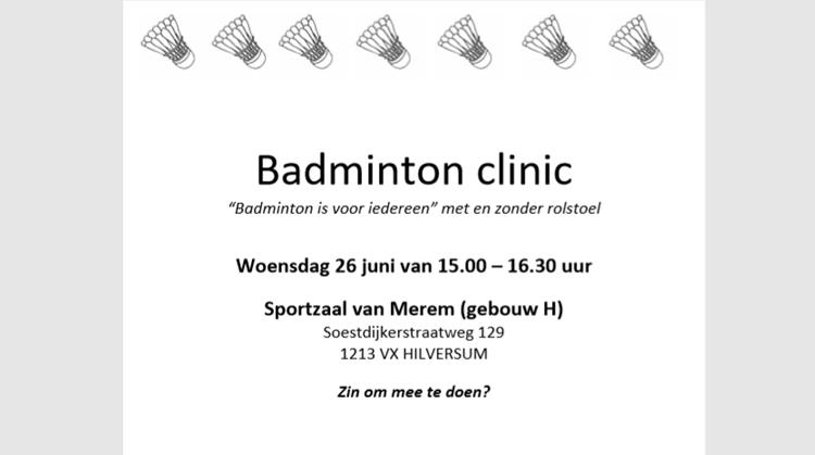 Badmintonclinic woensdag 26 juni bij Merem Hilversum afbeelding nieuwsbericht