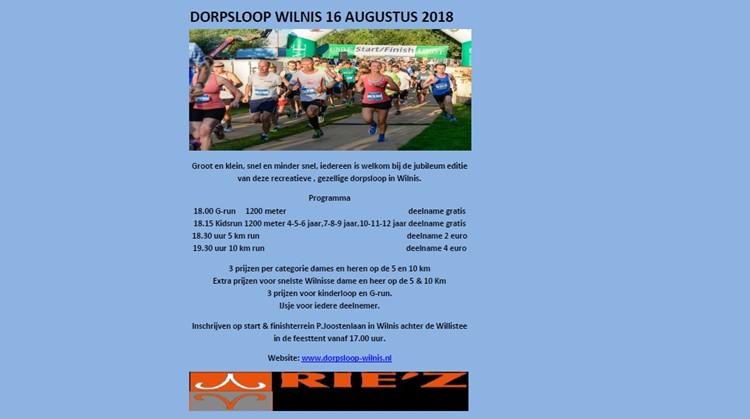 Dorpsloop Wilnis 16 augustus 2018. afbeelding nieuwsbericht