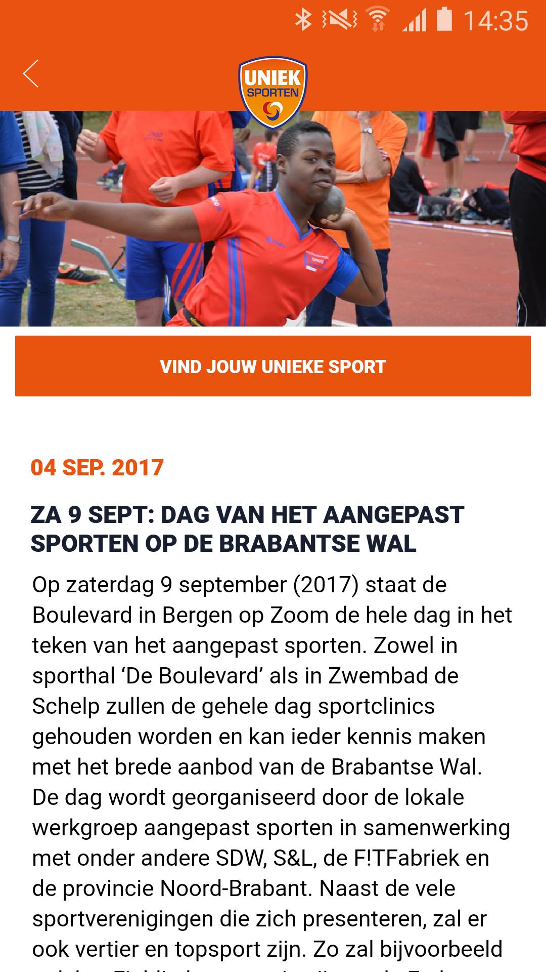 Uniek Sporten Android App screenshot 2