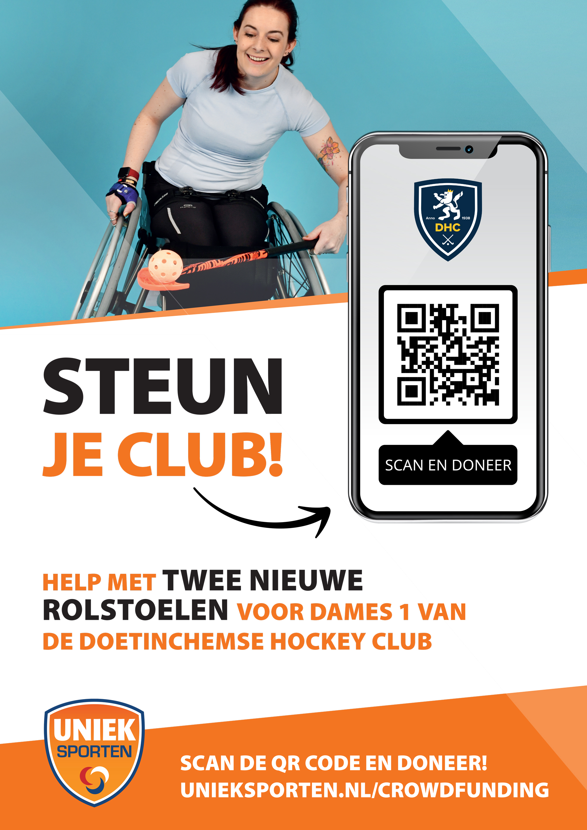 Crowdfundingsposter met clublogo